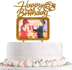 Gold Happy Birthday Cake Topper with Photo Frame,Girl Boy Woman Man Birthday Photo Picture Cake Topper, Birthday Theme Party Cake Decorations