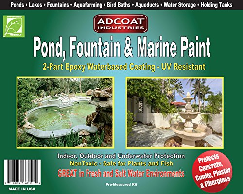 AdCoat Pond, Fountain & Marine Paint - 2-Part Acrylic Epoxy - Interior Exterior - 1 Quart Kit - White