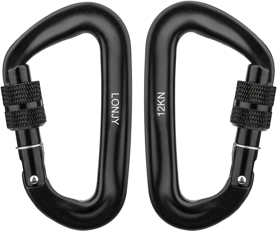 LONJYI Aluminum Carabiners 12KN Heavy Duty D Ring Buckle Locking Carabiner Clips Keychain Clip Spring Snap Hook Screw Gate Buckle