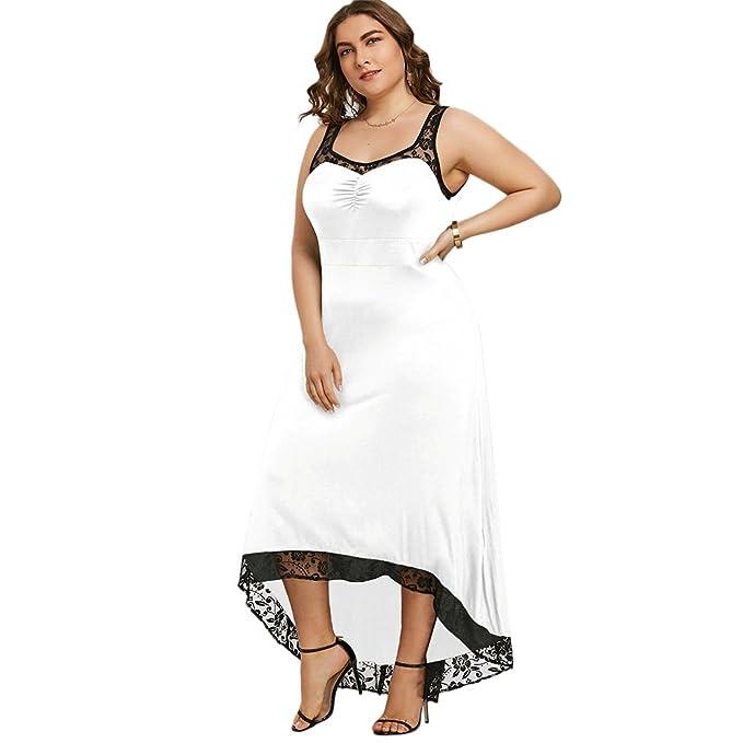 Vestido Mujer Elegante de Boda Fiesta Cóctel Vestidos de Encaje Floral Irregular Desigual Largo sin Mangas