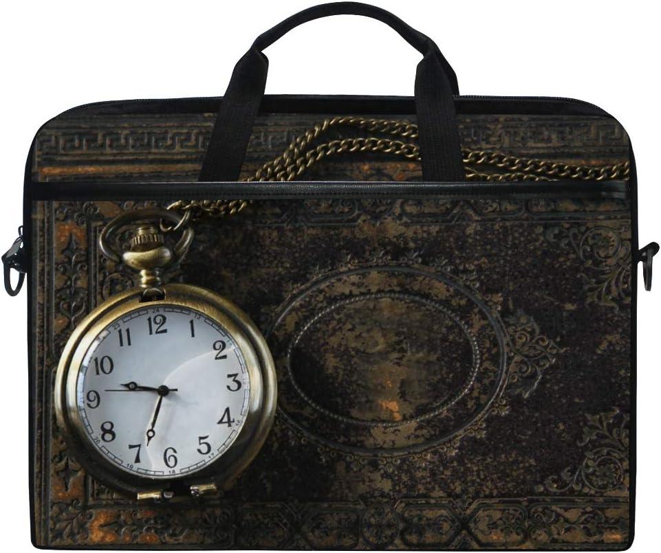 Ahomy - Funda para portátil de 14 a 15,6 pulgadas, diseño vintage de reloj de bolsillo sobre libro antiguo de lona para ordenador portátil, tableta, bolso de hombro