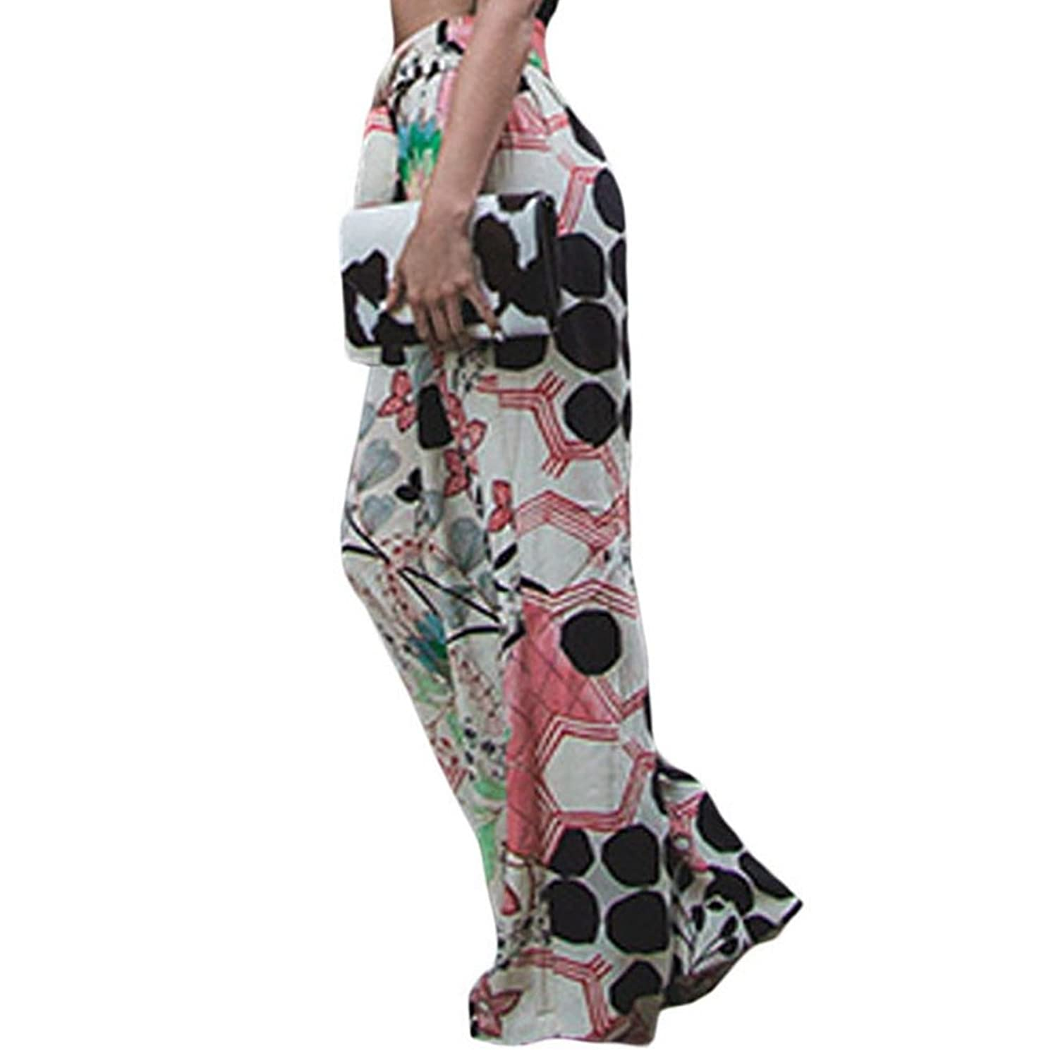c31c7989d3fa9f LOSRLY Women Floral Print High Waist Belt Palazzo Wide Leg Boho Pants Plus  Size at Amazon