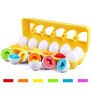Tinabless Color Matching Egg Set - Toddler Toys - Learn Color & Shape Match Egg Set - Educational Toys for 18 Months Baby and Up (12 Eggs)