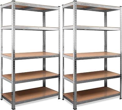 Deuba Set 2 Estanterias Metálicas 5 niveles almacenamiento 170x75x30cm Carga máxima de 350kg Metal galvanizado