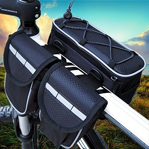 GkGk 4 in 1 Saddle Bike Bag Multi-function Organizer Pannier Tube Frame with Rainproof Cover for Mountain Bike Cycling Road Bicycle Seat Packs for Phones ,Bottle of Water ,Keys ,Wallet (Black) (1 Seat Bag)