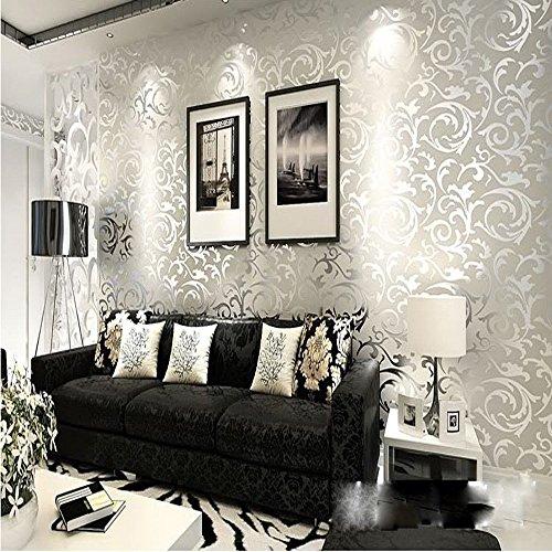 QIHANG Wandtapete, Rolle, Victorianisches Damask-Design, geprägt, beflockt, silberfarben / Grau, 0,53 x 10 m
