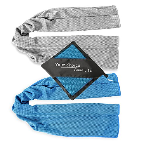 Bandanas Cooling Neck (Cool Towel - 2 Pack Cooling Scarf Towel Set, Mesh Yoga Towel, Cooling Workout Towel, Cooling Neck Towel Headband Bandana, Stay Cool Towels for Sports Travel & Gym Fitness Gray and Blue 12x40 Inch)