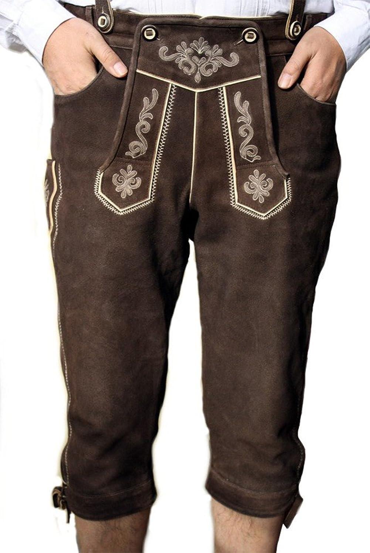 Trachten Lederhose trachtenhose Kniebundhose + Hosenträger Ziegenleder