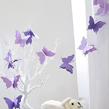 ADLKGG Butterfly Hanging Garland 3D Paper Bunting Banner Party Decorations  Wedding Baby Shower Home Decor Purple