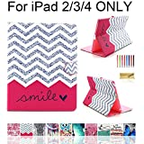 ipad 2 case for girls - iPad 2/3/4 Case, Dteck(TM) Cartoon Cute Pattern PU Leather Flip Wallet Case with [Cards Slots&Money Holder] for Apple iPad 2/ iPad 3 / iPad 4 9.7 Inch (01 Red Waves)