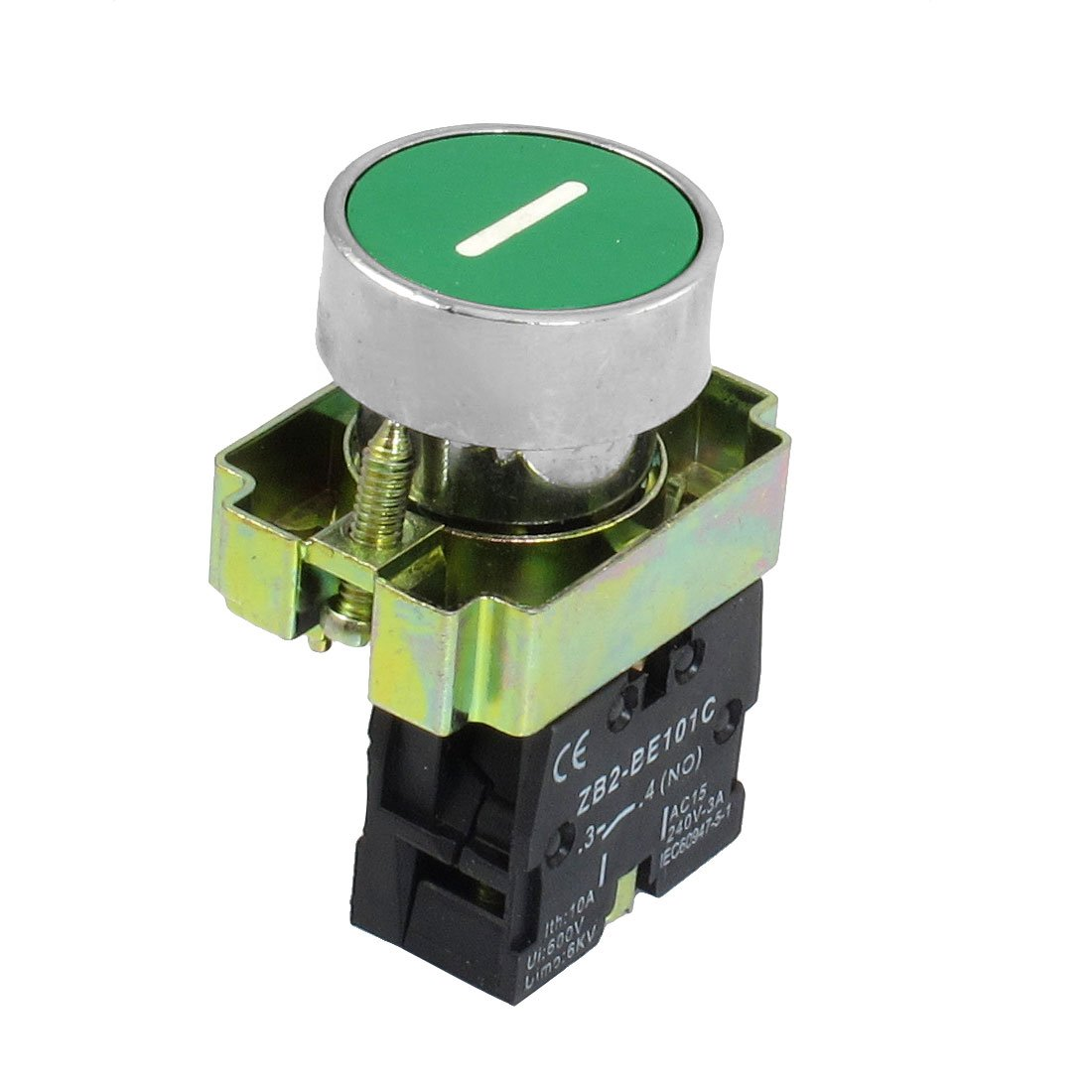 uxcell 1 NO N/O Momentary Push Button Switch, 600V 10A ZB2-BA3311, 22 mm, Green Sign