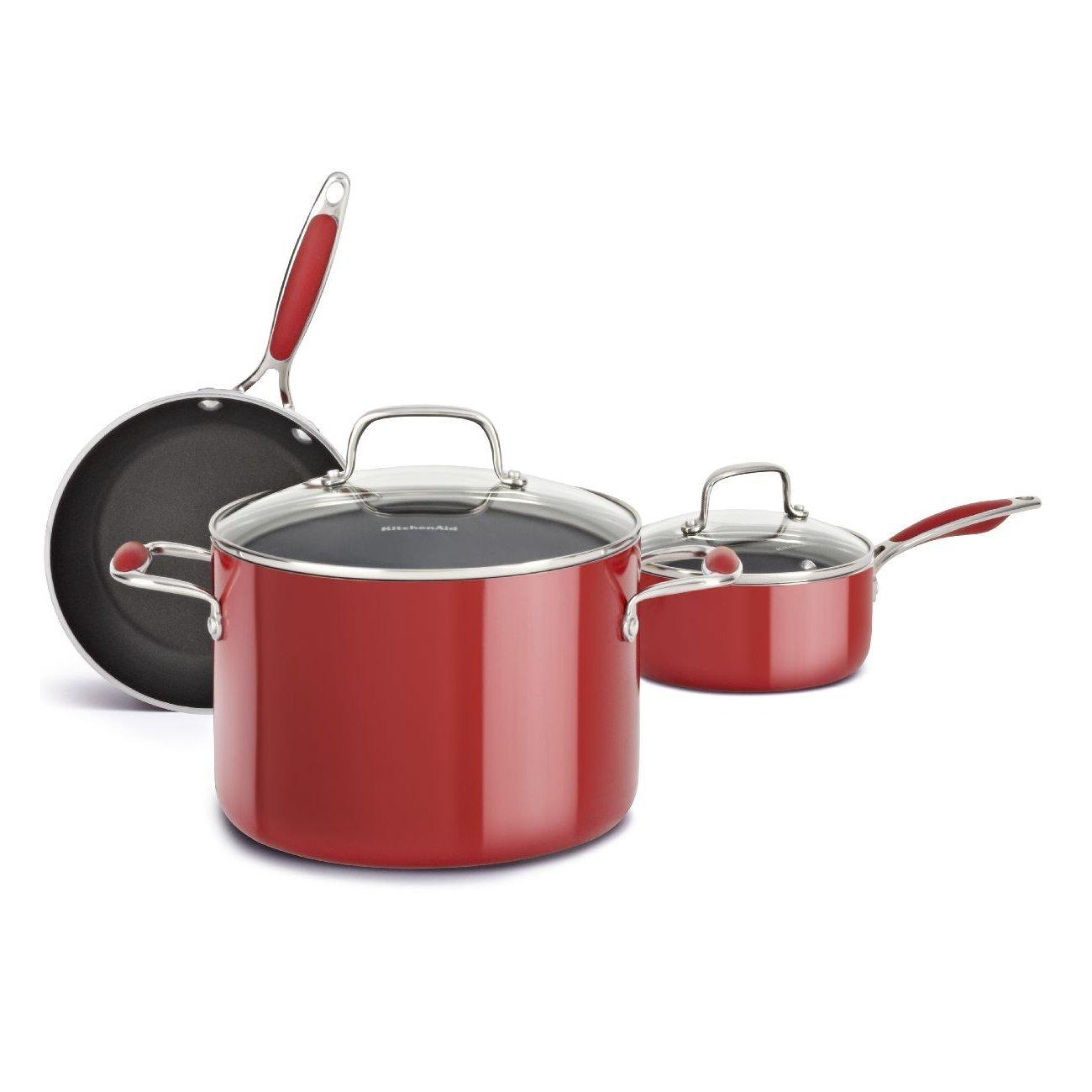 KitchenAid KCAS05AER Aluminum Nonstick 5-Piece Set Cookware - Empire Red by KitchenAid: Amazon.es: Hogar