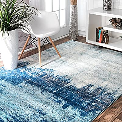 nuLOOM Alayna Abstract Area Rug, 4' x 6', Blue - Features a geometric design Construction: machine made Material is 100% polypropylene - living-room-soft-furnishings, living-room, area-rugs - 61GzzeHMc L. SS400  -