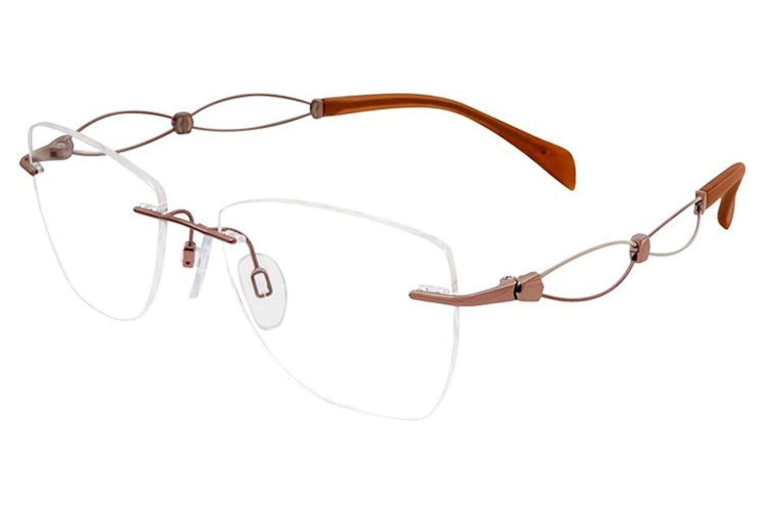 9e4bd6b098 Amazon.com  Charmant Line Art Women s Eyeglasses XL2104 XL 2104 BR Brown  Optical Frame 52mm  Clothing