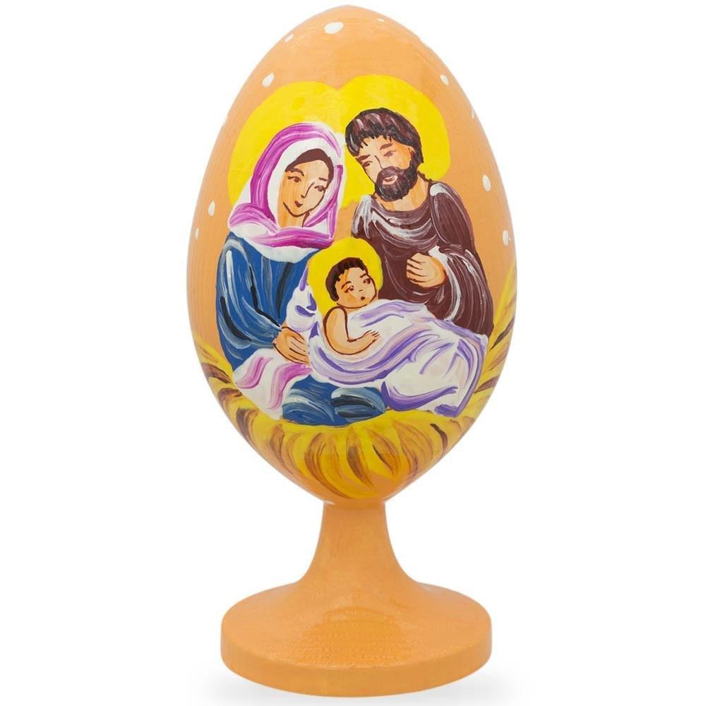 BestPysanky 3.5'' Jesus, Mary and Joseph Nativity Scene Wooden Easter Egg Figurine