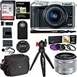 Canon EOS M6 Camera (Silver) EF-M 15-45mm f/3.5-6.3 IS STM Lens Kit, Sandisk Ultra SDXC 64GB Memory Card, XIT Filter Kit, DSLR Camera Bag, Ritz Gear Tripod and Accessory Bundle