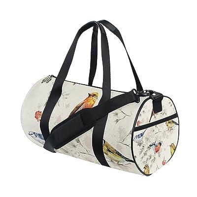 Gym Bag Tree Branches Flowers Bird Sports Travel Duffel Lightweight Canvas Bags