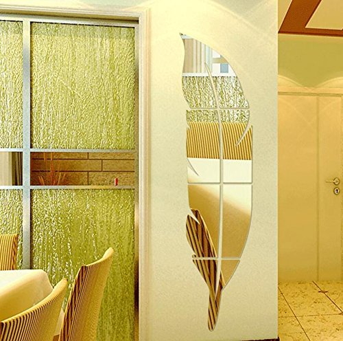 Yusylvia 1set 120X30cm DIY Modern Plume Feather Style Acrylic Mirror Wall Stickers Room Decoration (large 120X30CM, Gold) (Decor Feather Gold Wall)
