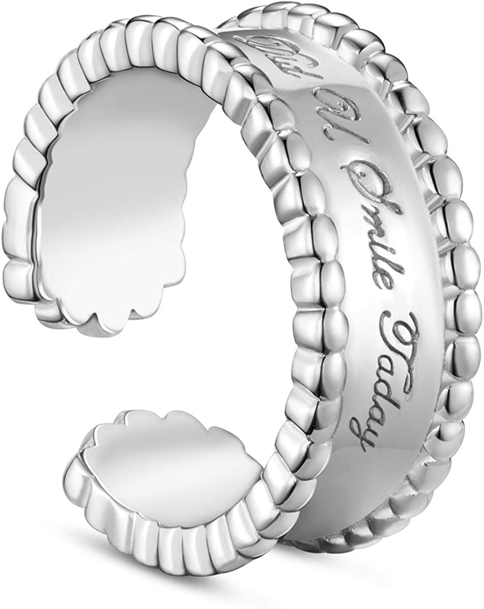 SHEGRACE Open Ring 925 Sterling Silver Platinum Plated Cuff Rings for Woman//Girls,Adjustable
