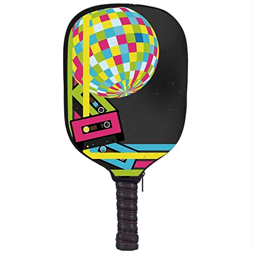 Amazon.com : VANKINE Neoprene Premium Pickleball Paddle Racket Cover Case, Popstar Party, Retro Party Theme Disco Ball 80s Style Audio Cassette Tapes ...