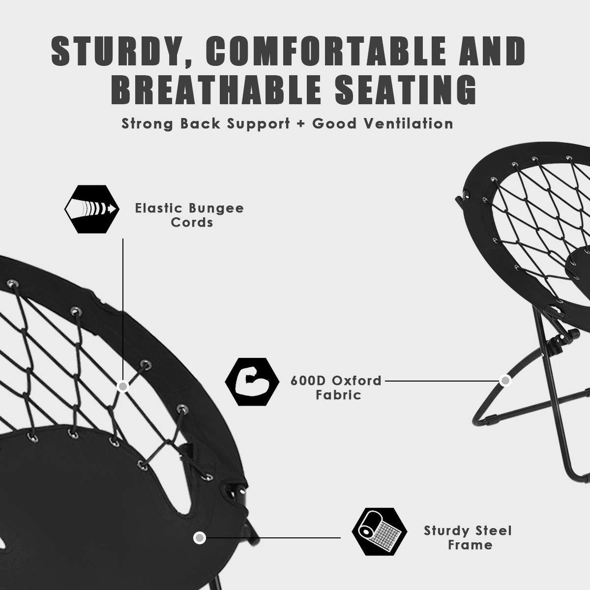 Goplus Bungee Chair Outdoor Camping Gaming Hiking Garden Patio Portable Steel Folding Bunjo Dish Chairs Autumn Brown