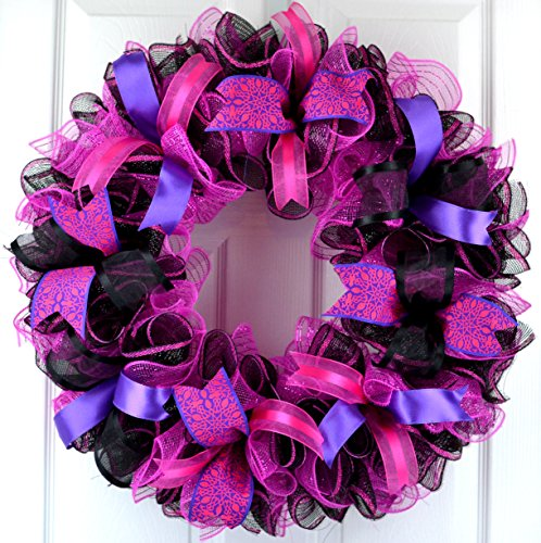 Black Pink Mesh Door Wreath; Black Hot Fuchsia - Outside Wreaths Valentines Day