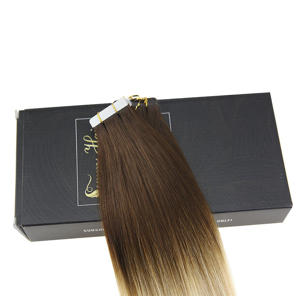 Sunny 16 Tape In Hair Extensions Balayage Ombre Dark Brown Mixed