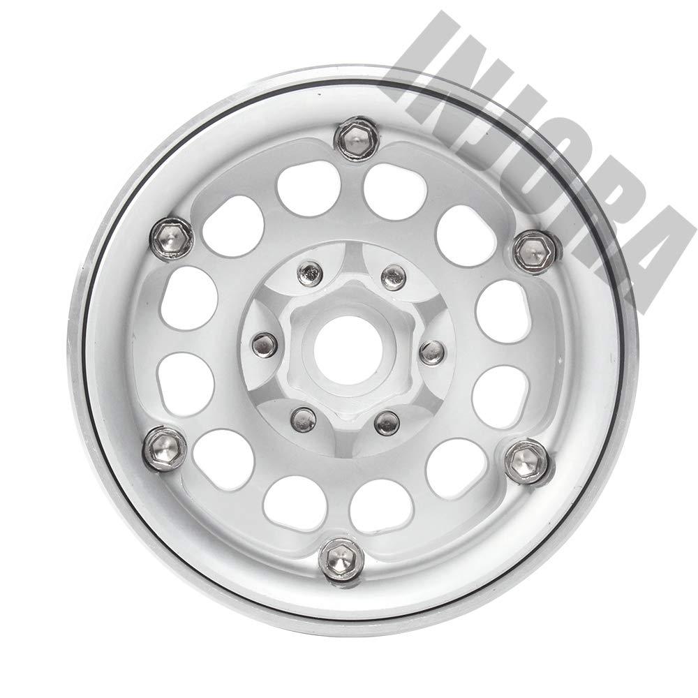 Nero INJORA 4PCS RC 1,9 Cerchioni Metallo Beadlock Wheel Rim per 1:10 RC Rock Crawler Axial SCX10 SCX10 II 90046 Traxxas TRX4 RC4WD D90