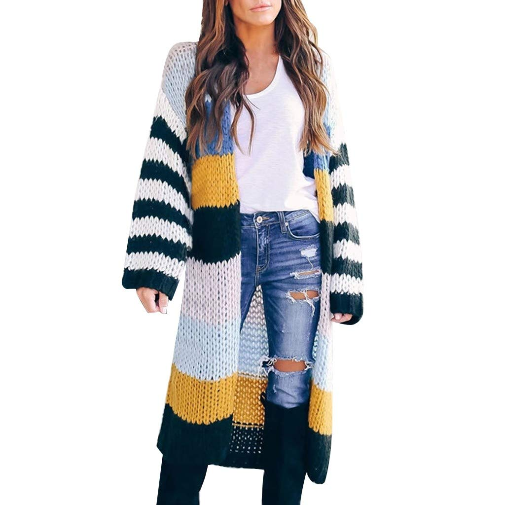 KANGMOON Womens Long Cardigan Sweaters Oversized Striped Open Front Colorblock Loose Knit Kimono Duster Coats Sweaters Yellow by KANGMOON