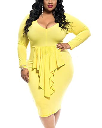 c4012c36b9 YOUBENGA Women's Plus Size Sexy Long Sleeve Ruffle Club Bodycon Midi Dress  Yellow 2XL at Amazon Women's Clothing store: