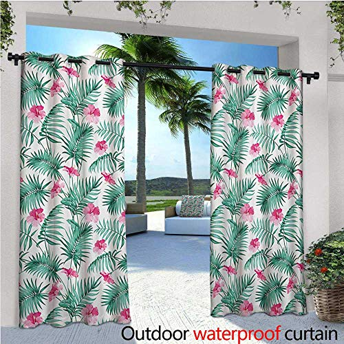 ndoor/Outdoor Single Panel Print Window Curtain Tropical Ferns with Flowers Exotic Hawaii Floral Arrangement Blossoming Nature Silver Grommet Top Drape W108 x L84 Seafoam Pink ()