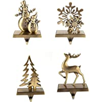 4 Pcs Set Christmas Stocking Holder Antique Bronze Color - Mantle Clip Stocking Holder - Christmas Stocking Holders For…