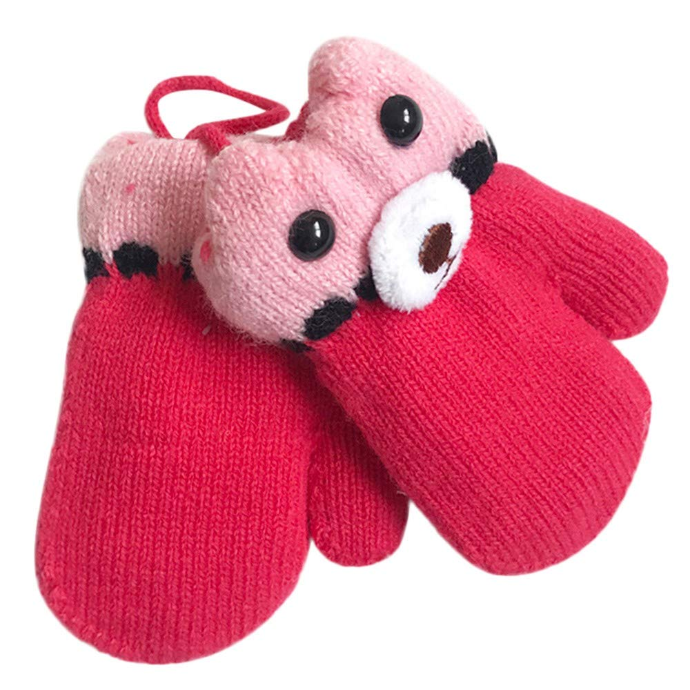 Lavany Baby Gloves on a String Boys Girls Cute Bear Knit Warm Mittens for 2-4 Years