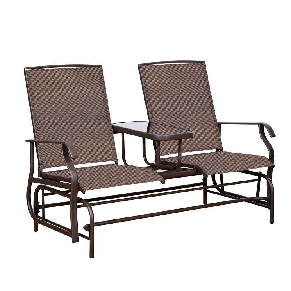 PatioPost Outdoor 2 Person Patio Mesh Fabric Loveseat Glider Chair w Center Table,Mocha