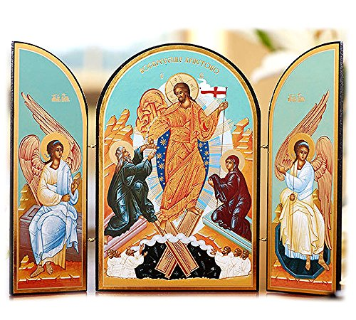 (Resurrection of Christ Jesus Easter Russian Icon Triptych 10 Inch)