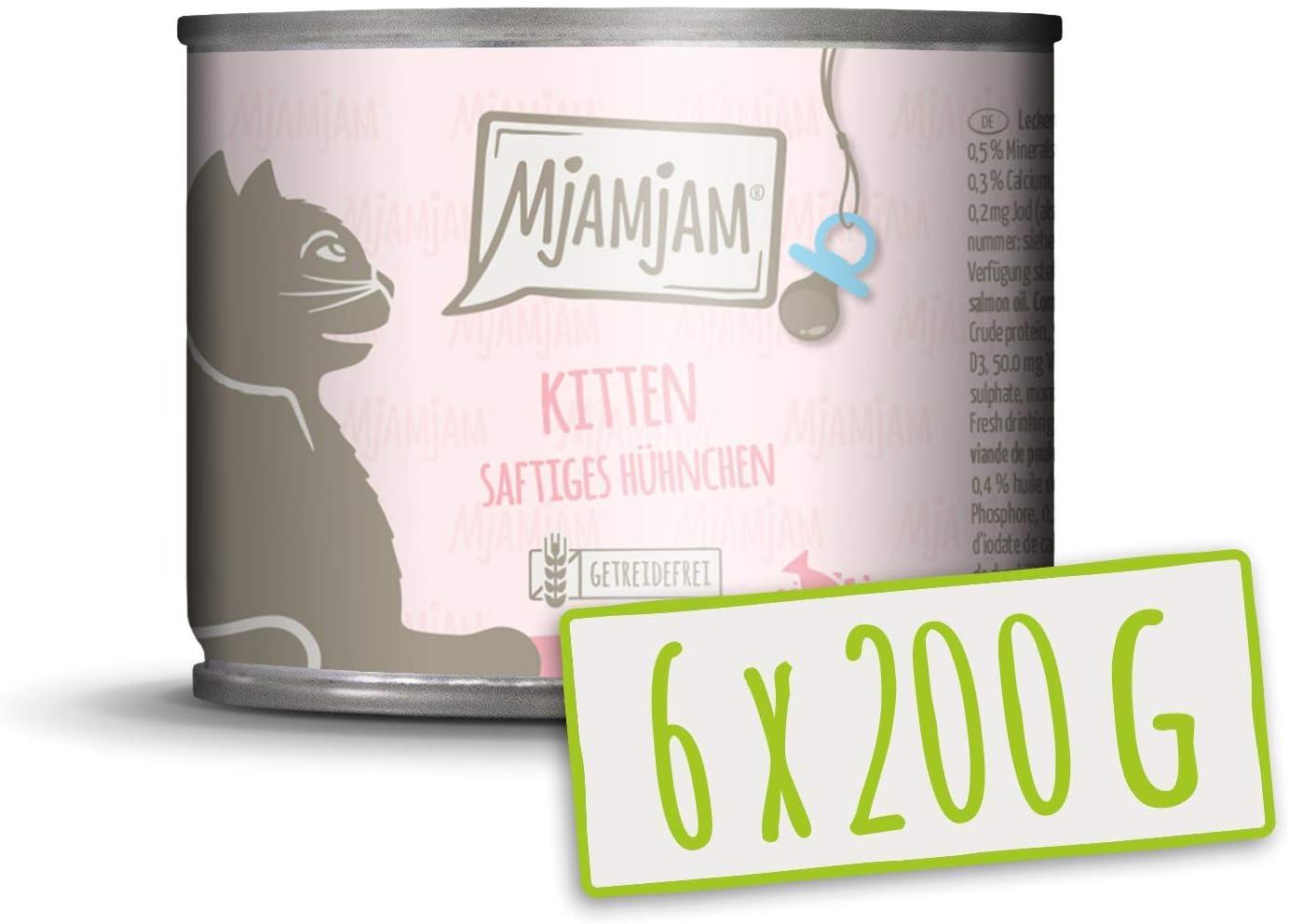 MjAMjAM - Pienso acuoso para Gatitos - Comida para Gatitos de Pollo jugoso Refinado con Aceite de salmón - Sin Cereales - 6 x 200 g