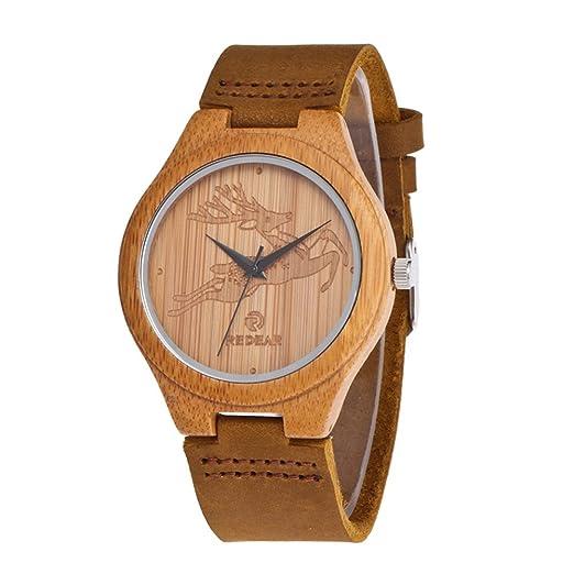 Reloj de Madera de Bambú para Mujer, Yowao Cuarzo Japonés y con la Correa de Cuero Genuino: Amazon.es: Relojes
