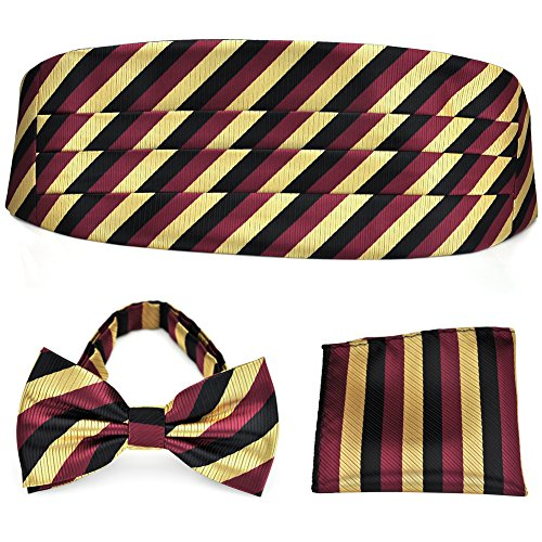 PenSee Formal Burgundy Gold Stripe Pre-tied Bow Tie & Pocket Square & Cummerbund Set (Cummerbund Sets)