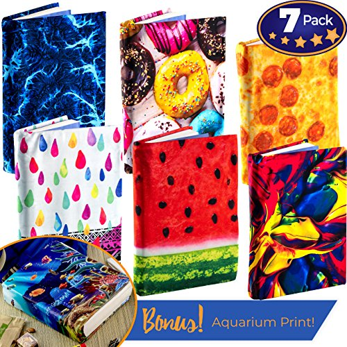 Jumbo, Stretchable Book Cover Designer 7 Pack With Aquarium Print. Fits Most Hardcover Textbooks 9 x 11 And Larger. Reusable, Adhesive-Free, Fabric Protectors Are A Needed School Supply For Students