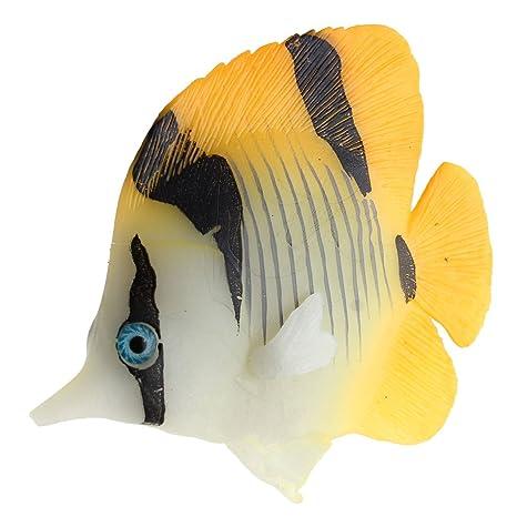 sourcing map Acuario Tanque de goma Ventosa peces artificiales decoración Ornamento naranja
