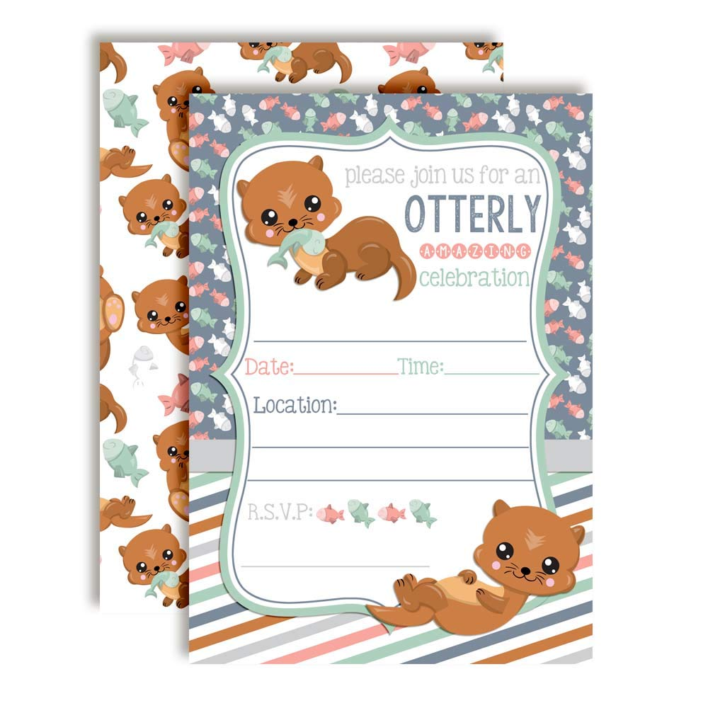 Adorable Otter Birthday Party Invitations for an Otterly Amazing Celebration, 20 5''x7'' Fill in Cards with Twenty White Envelopes by AmandaCreation by Amanda Creation