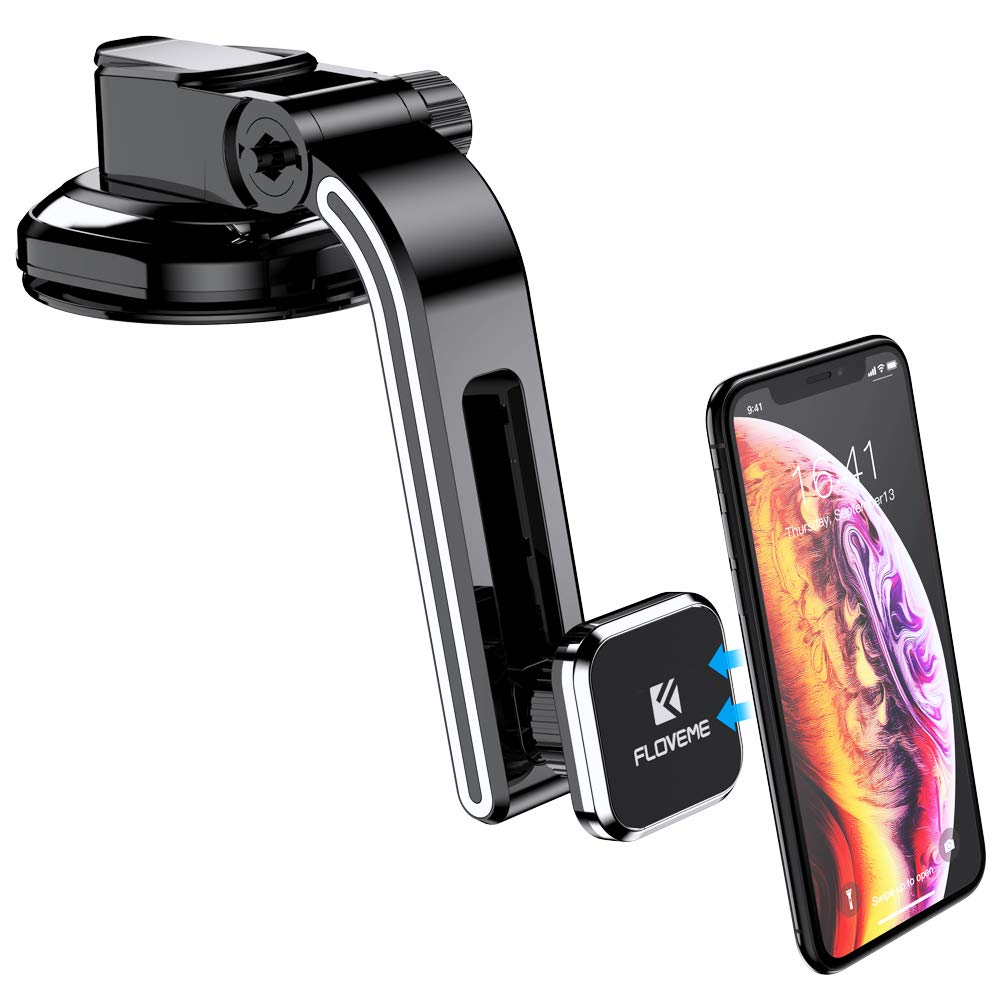 Dashboard Magnetic Phone Car Mount,FLOVEME Adjustable Arm Magnet Car Phone Mount Strong Suction Cup Magnetic Car Phone Holder for iPhone X/XR/Xs Max/8/7 Plus,Samsung Galaxy S10 Plus/S9/S8 Note 10 9 8 by FLOVEME