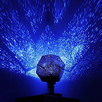 DIY Romantic Star Projector Light, ONEVER LED Sky Projection Lamp Rotating  Science Projector Night Lamp