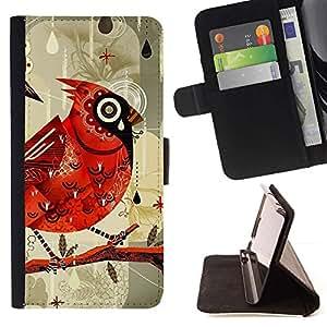 For LG G4 Stylus / G Stylo / LS770 H635 H630D H631 MS631 H635 H540 H630D H542 Case , Pájaro Dibujo Acuarela Lluvia- la tarjeta de Crédito Slots PU Funda de cuero Monedero caso cubierta de piel