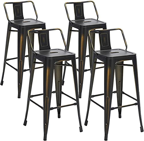 Aklaus Metal Bar Stools Set of 4 Counter Stools Counter Height Bar Stools with Backs Indoor Outdoor Bar Chairs 30 Inch Distressed Black Gold