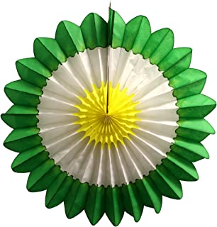 product image for 3-Pack 18 Inch Tissue Paper Fanburst Decoration (Spring - Green/White/Yellow)