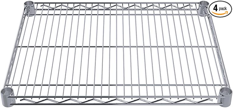 4-Pack Akro-Mils AWS1436SHELF 14-Inch X 36-Inch NSF Approved Industrial Grade Chrome Wire Shelf
