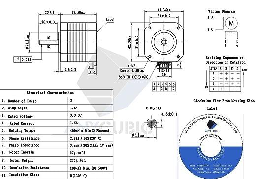 anycubic Nema 17 Stepper Motor Bipolar 1.5 A 42 Ncm 2 Phase 4 Draht ...