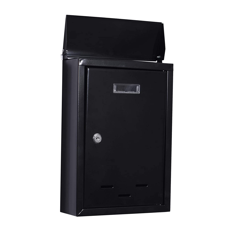 HOMCOM Wall Mounted Letterbox Mailbox Large Lockable Letter Mail Post Box 2 Keys Black