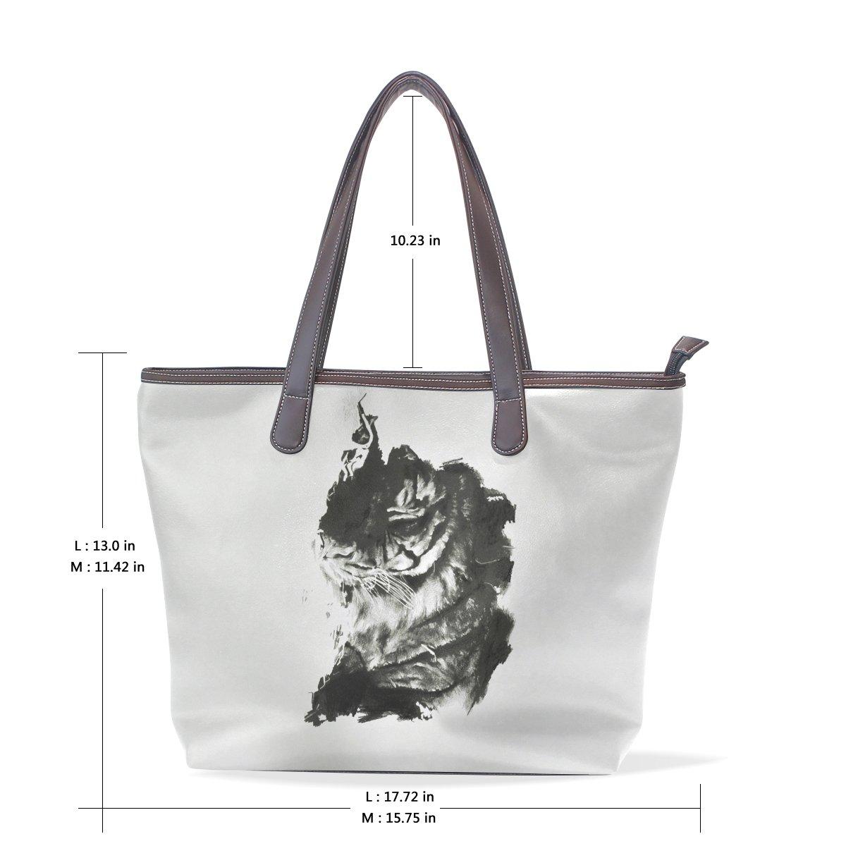 BYouLockX Sleeping Tiger Pattern Leather Handbags Satchel ShoulderBag for Women